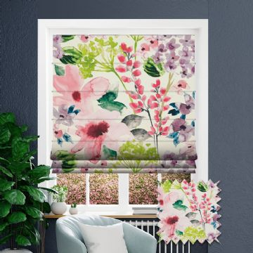 Pink Roman blind in Floral Patterned Floretta Spring fabric